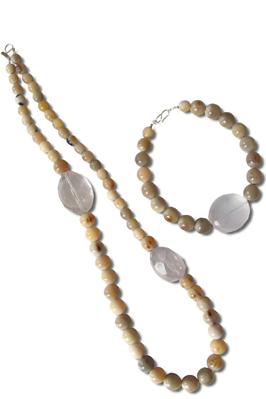 white horn,cristal rocks&silver