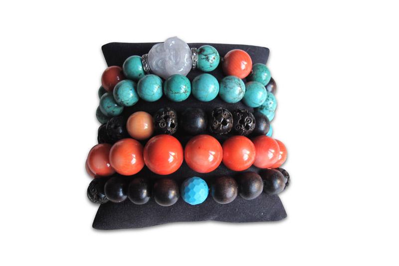 coral,turquoise,ebony,jade&diamond roundels
