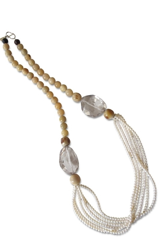 white horn,pearls,cristal rocks&silver