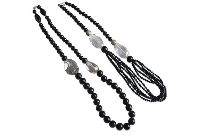 black horn&cristal rocks / horn,pearls&cristal rocks